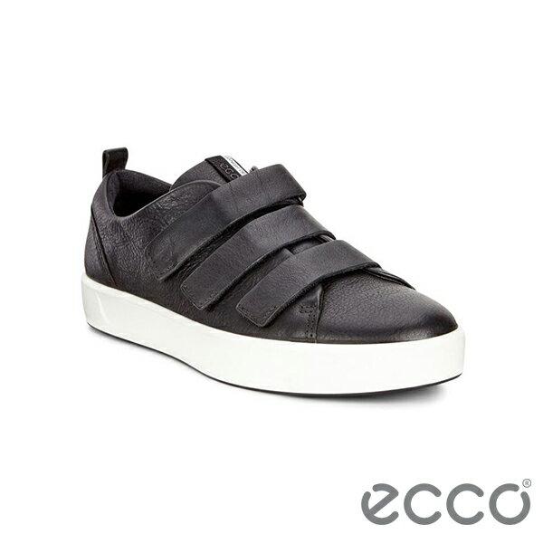 【ECCO 新品上市85折│全店免運】ECCO SOFT 8 LADIES 時尚皮革魔鬼氈休閒鞋/ 黑-44051301001
