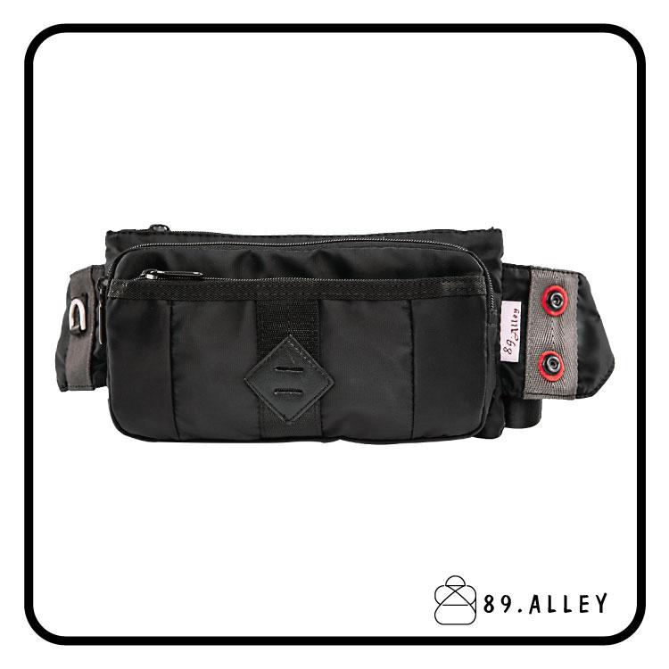 腰包 單肩包 女包男包 黑色系防水包 輕量尼龍雙層情侶斜背包 89.Alley