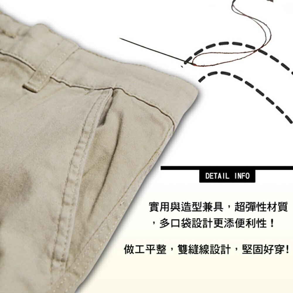 KASO 經典卡其 多口袋彈力休閒短褲( 中大尺碼 休閒 短褲 男性 夏天 Cargo Shorts) 1