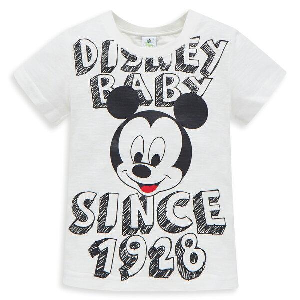 Dinsey米奇系列閃亮數位圓領上衣-白色