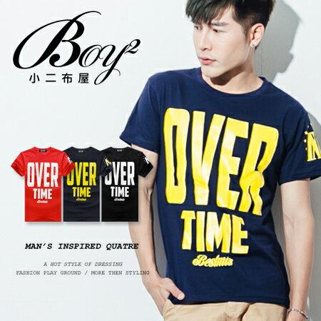 ☆BOY-2☆【ND5455】短袖T恤韓版型男潮流配色OVER TIME印花短T 0