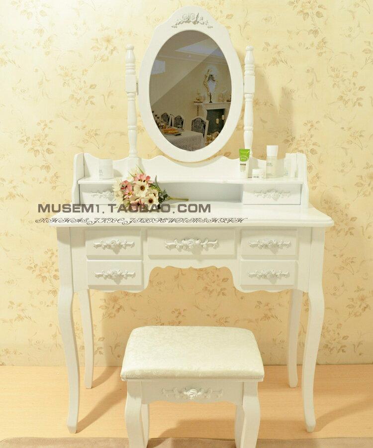 歐式梳妝台田園小戶型簡約化妝桌現代韓式實木組裝家具簡易臥wy