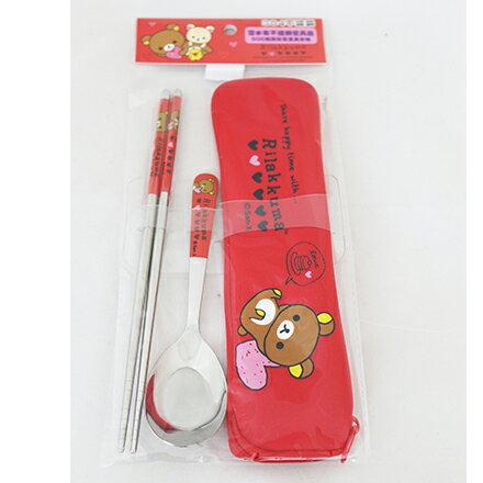 [敵富朗超市]拉拉熊-OPP袋潛水布不銹鋼餐具組加大系列 1