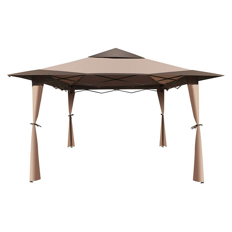 Gzb004 Double Roof 10 X Foot Polyester Patio Gazebo Picnic Sun Shade Canopy Brown