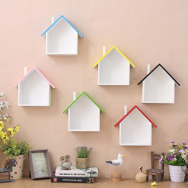 可愛美式鄉村壁掛可愛彩色小房子壁掛置物架2