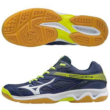 V1GA177001(深丈青X白X螢光綠)高CP值THUNDERBLADE排球鞋A【美津濃MIZUNO】