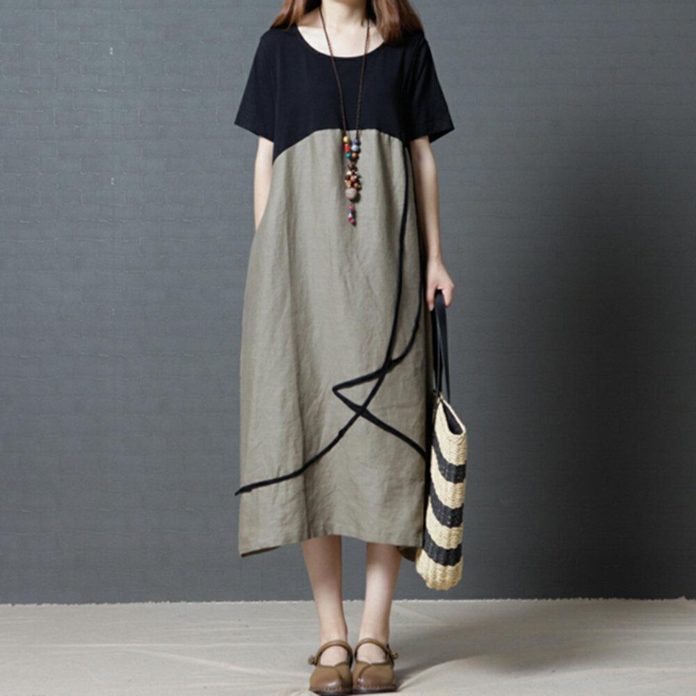 棉麻撞色圓領連身裙(2色M~2XL)【OREAD】 2