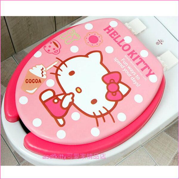 asdfkitty可愛家精品店:asdfkitty可愛家☆KITTY粉紅色可可亞U型馬桶蓋馬桶座-舒適軟沙發坐墊-韓國製