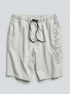 美國百分百【全新真品】Calvin Klein 短褲 CK 休閒褲 褲子 棉褲 棉質 logo 淺灰 S M號 H959