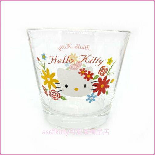 asdfkitty可愛家☆KITTY小雛菊玻璃杯水杯酒杯-有可當擺飾或放小飾品-日本正版商品