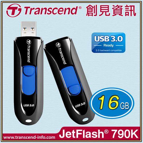 【Transcend 創見】JF790 USB3.0 16G黑/隨身碟 TS16GJF790