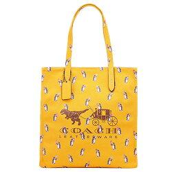 (Smile) COACH F25737 女包單肩包女斜挎女款帆布手提包黃色購物袋