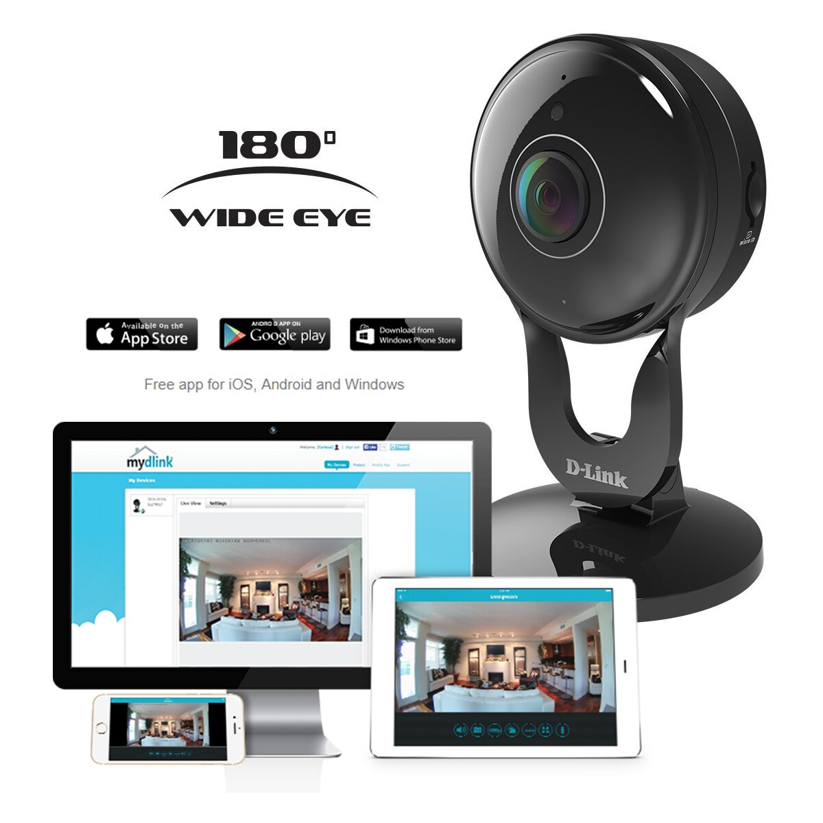 3 Pack D-Link 1080p Wireless Night Vision Security Camera Mobile App  DCS-2530L