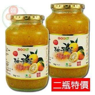【韓購網】韓國Chamsali蜂蜜柚子茶1kg二瓶特價★打霜後的柚子,高達65%的柚子果肉製作★韓國柚子茶