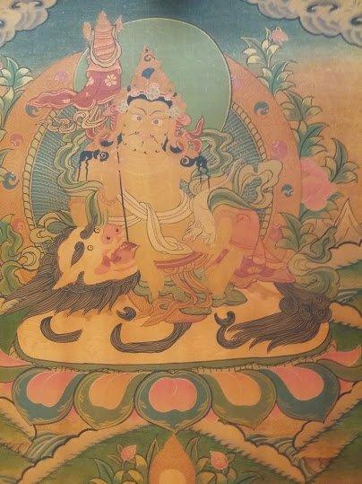 尼泊爾手繪唐卡 財寶天王唐卡 護法財神尊