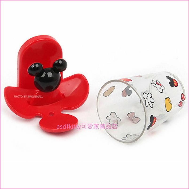 asdfkitty可愛家☆迪士尼米奇造型黏膠式漱口杯含架/也可掛牙刷-倒掛易乾-韓國製