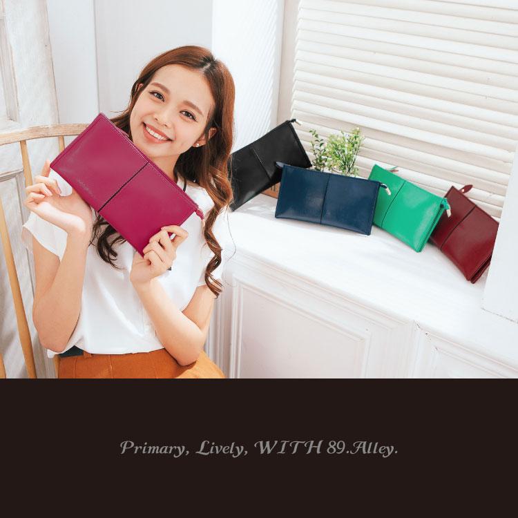 質感仿真皮2用長夾,簡約素色款手掛包 皮夾 斜背包 可放iphone6s 護照 89.Alley ☀5色 2