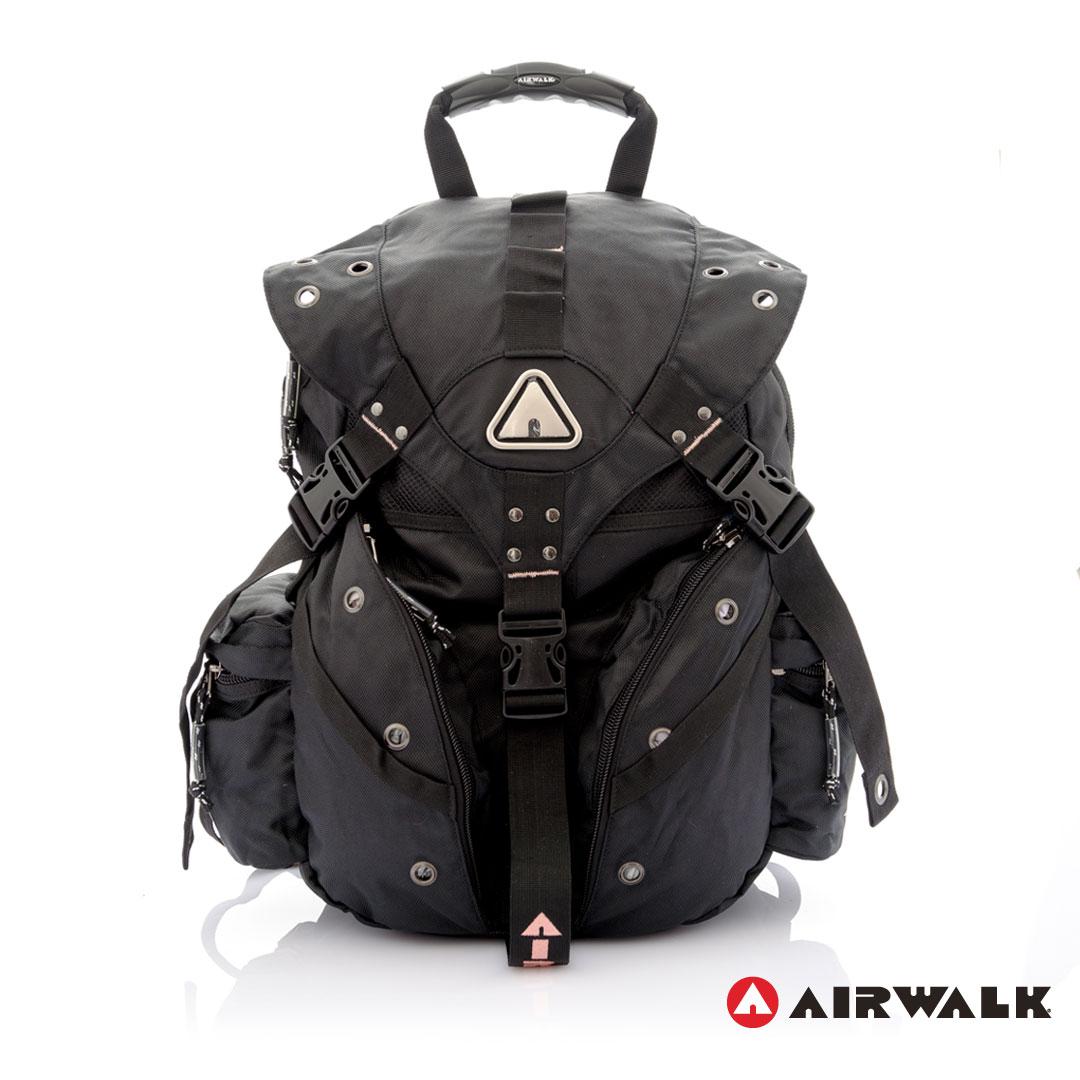 AIRWALK街頭系列-美式潮流三叉釦尼龍後背包(粉)(大容量)