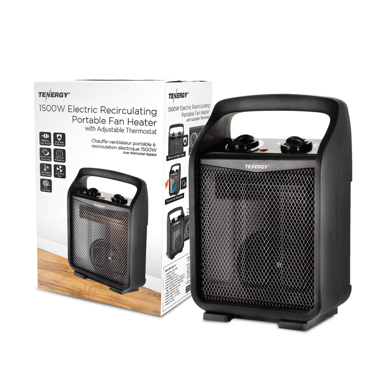 Tip-Over /& Overheat Protection Tenergy 1500W//750W Portable Space Heaters with Adjustable Thermostat Recirculation Air Electric Fan Heater with Auto Shut Off Switch