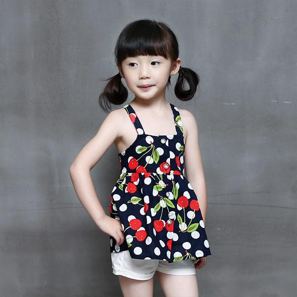 女童短袖套裝 吊帶無袖上衣 短褲套裝 寶寶 MS18803 好娃娃