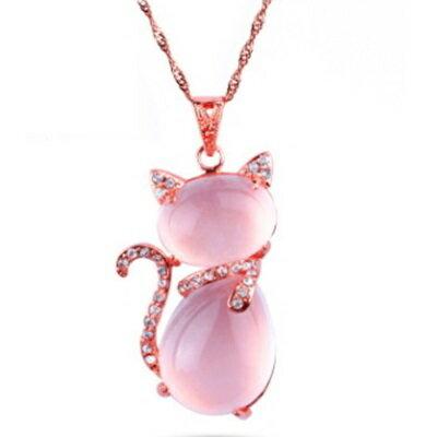 玫瑰金項鍊 純銀芙蓉石鑲鑽吊墜~ 氣質可愛小貓情人節生日 女飾品73fk3~ ~~米蘭 ~