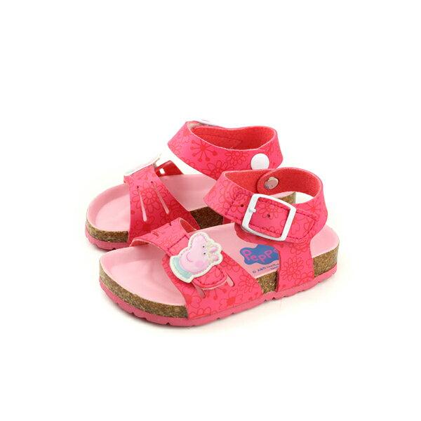粉紅豬小妹PeppaPig涼鞋勃肯鞋魔鬼氈桃紅色小童童鞋PG4505no722
