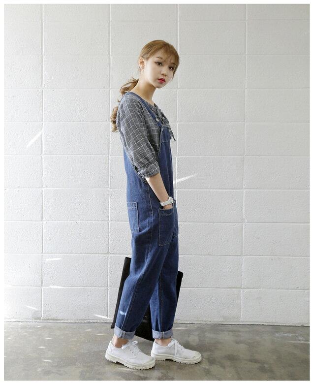 連身褲長褲工作褲 俏皮寬鬆顯瘦口袋牛仔吊帶褲 艾爾莎【TAE2369】 1