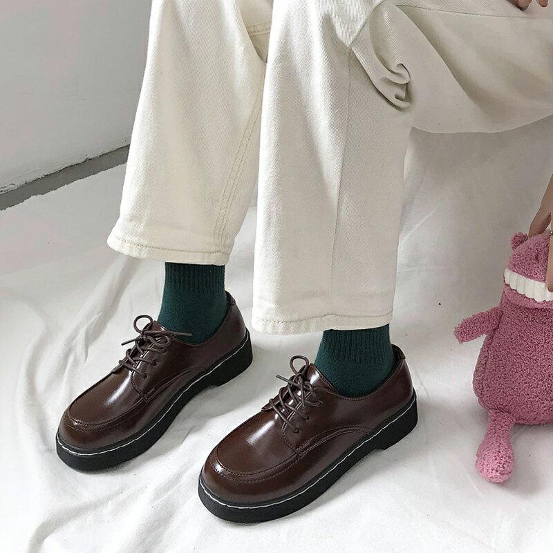 小皮鞋女英倫風黑色單鞋春秋百搭平底復古圓頭網紅鞋