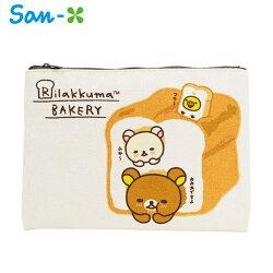 【日本正版】San-X 拉拉熊 帆布 扁筆袋 L號 鉛筆盒 筆袋 收納包 懶懶熊 Rilakkuma - 443894