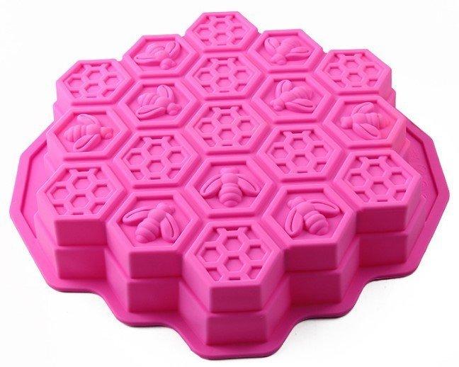 心動小羊^^心動小羊^^蛋糕19孔超大蜜蜂烤盤,蜜蜂皂特級矽膠模具 矽膠手工皂模 蜜蜂造型型土司模