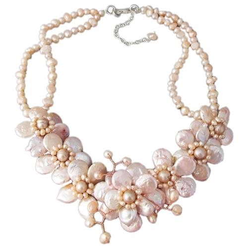 Pink Coin Pearl Cluster Sakura Flower .925 Silver Necklace 0