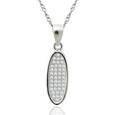 ~925純銀項鍊 鑲鑽吊墜~簡潔亮眼 母親節情人節生日 女飾品73dk435~ ~~米蘭