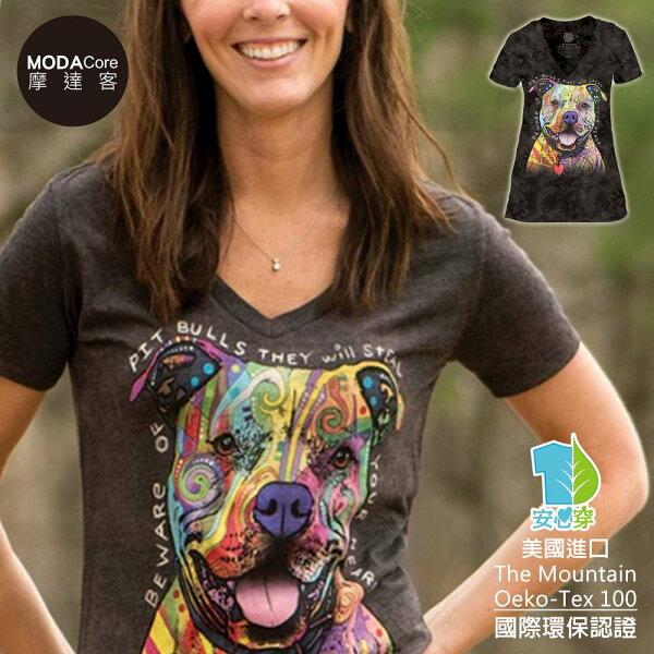 【摩達客】(預購)美國TheMountain都會系列彩繪比特犬V領女版短T