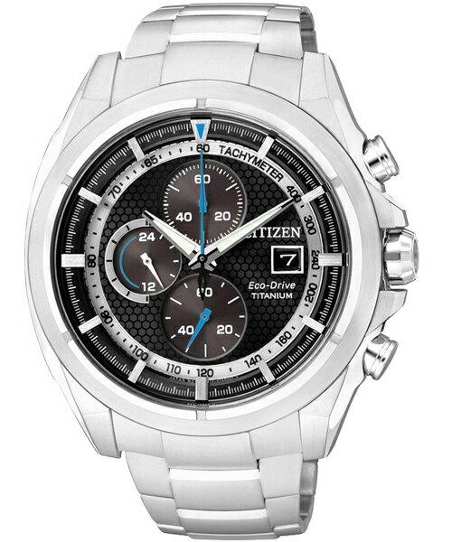 CITIZEN星辰CA0551~50E競速鈦光動能計時腕錶  黑面45mm
