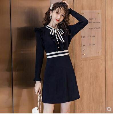針織連身裙 配大衣的內搭打底毛衣裙子秋冬新款修身氣質加厚針織連身裙女