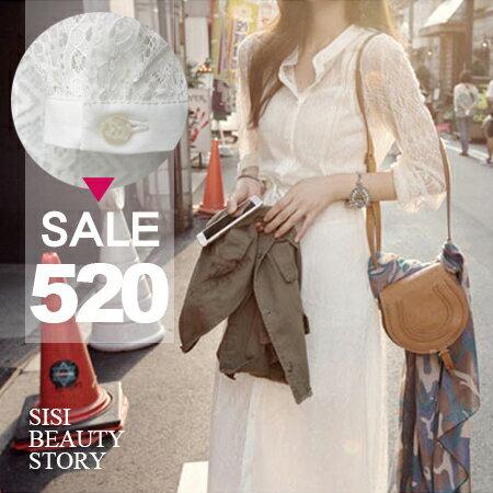 SISI【D6064】韓版立領全鏤空蕾絲抽繩綁帶連身裙長袖罩衫+細肩吊帶雪紡連身裙洋裝