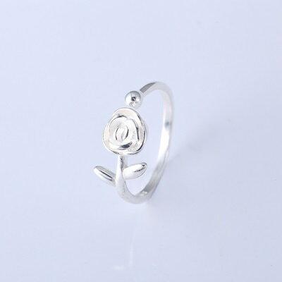 ~925純銀戒指開口戒~浪漫玫瑰花朵生日情人節聖誕節 女飾品73qj17~ ~~米蘭 ~