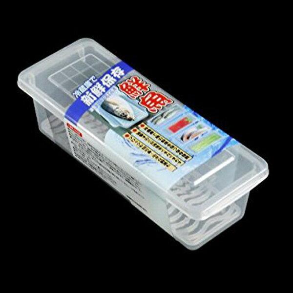 BO雜貨:BO雜貨【SV8236】日本製冷藏保鮮盒附濾盤1L蔬果長型保鮮盒瀝水保鮮盒海鮮盒子冰箱冷藏冷凍儲藏盒