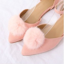 Pyf ♥ 歐美新款 優雅粉 時尚百搭 尖頭平底鞋 絨面毛球裝飾 中空涼鞋