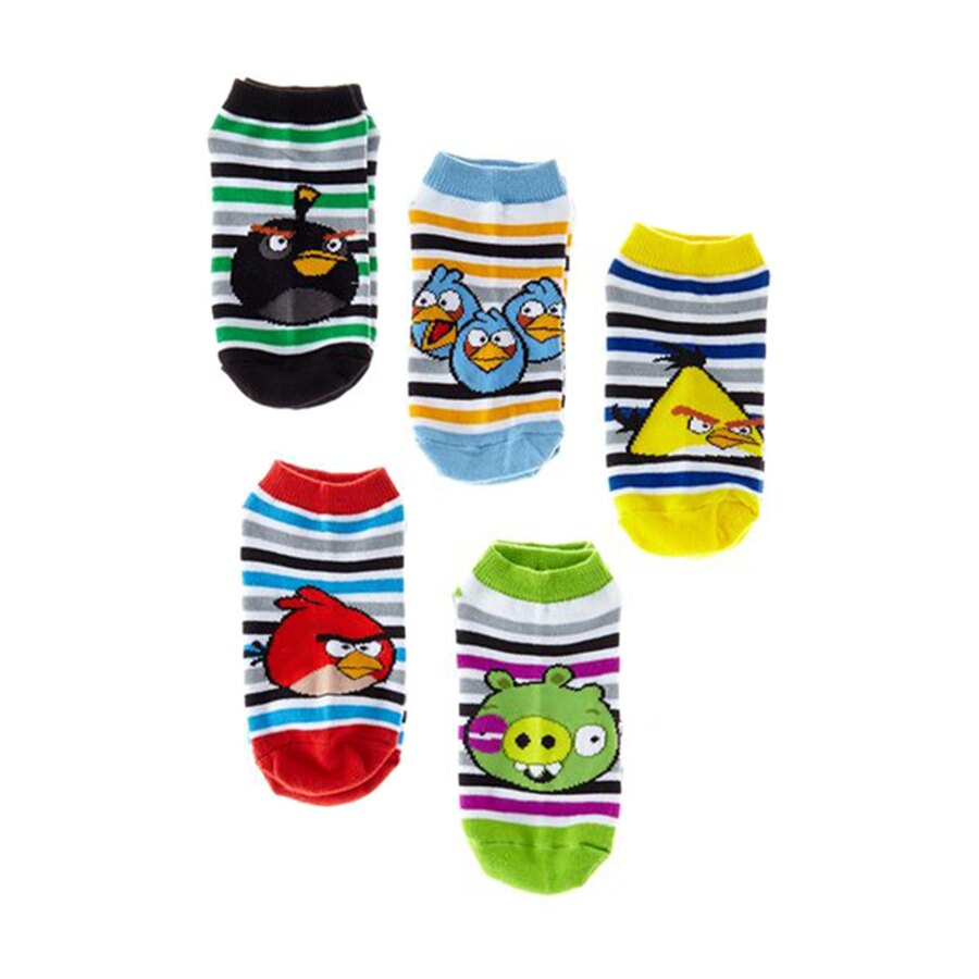 "Angry Birds 5 Pack ""FLYING STRIPES"" Low Rise Kids Socks - Size 6 - 8.5 Medium 0"
