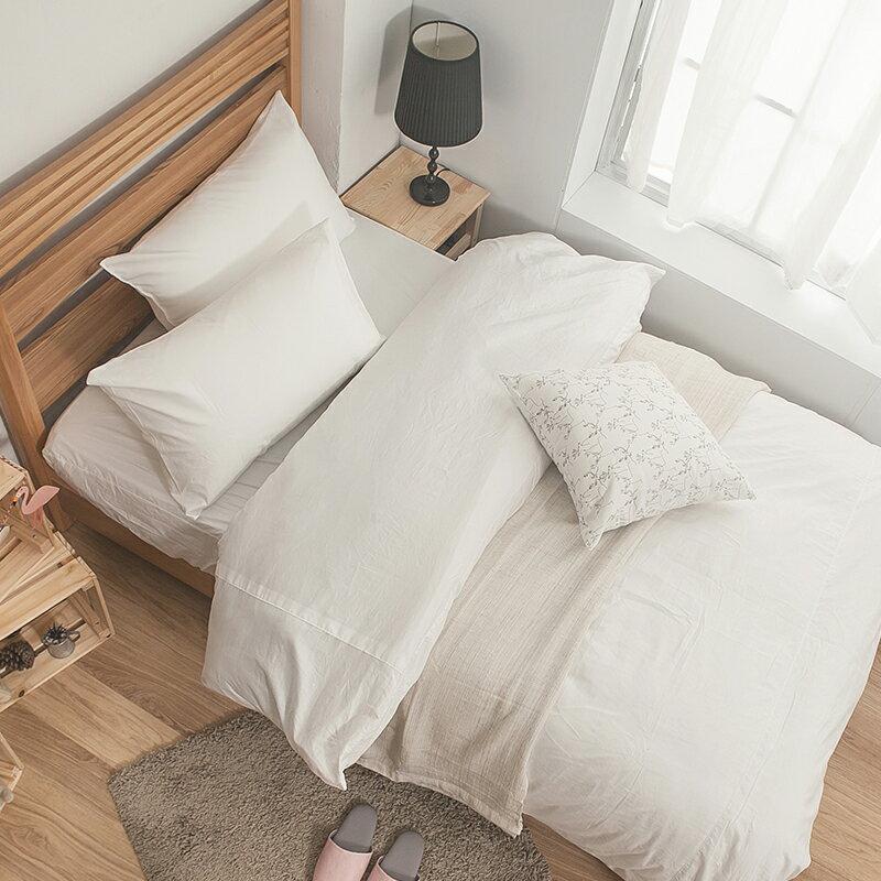 床包被套組   雙人加大~100%精梳棉~素色系列~白色~含兩件枕套,戀家小舖, 製SS0