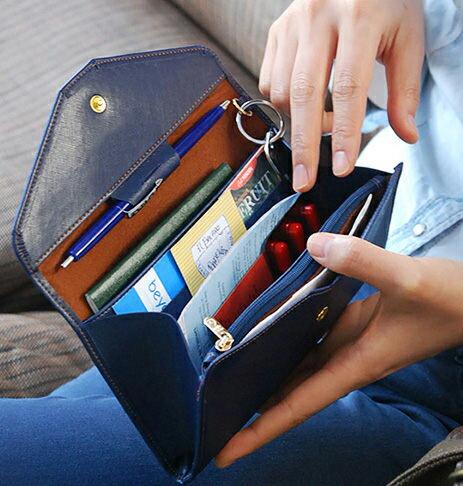 PS Mall 氣質超薄軟皮長款錢包 多 手機包 護照包 卡片包 零錢包 錢包~J478~