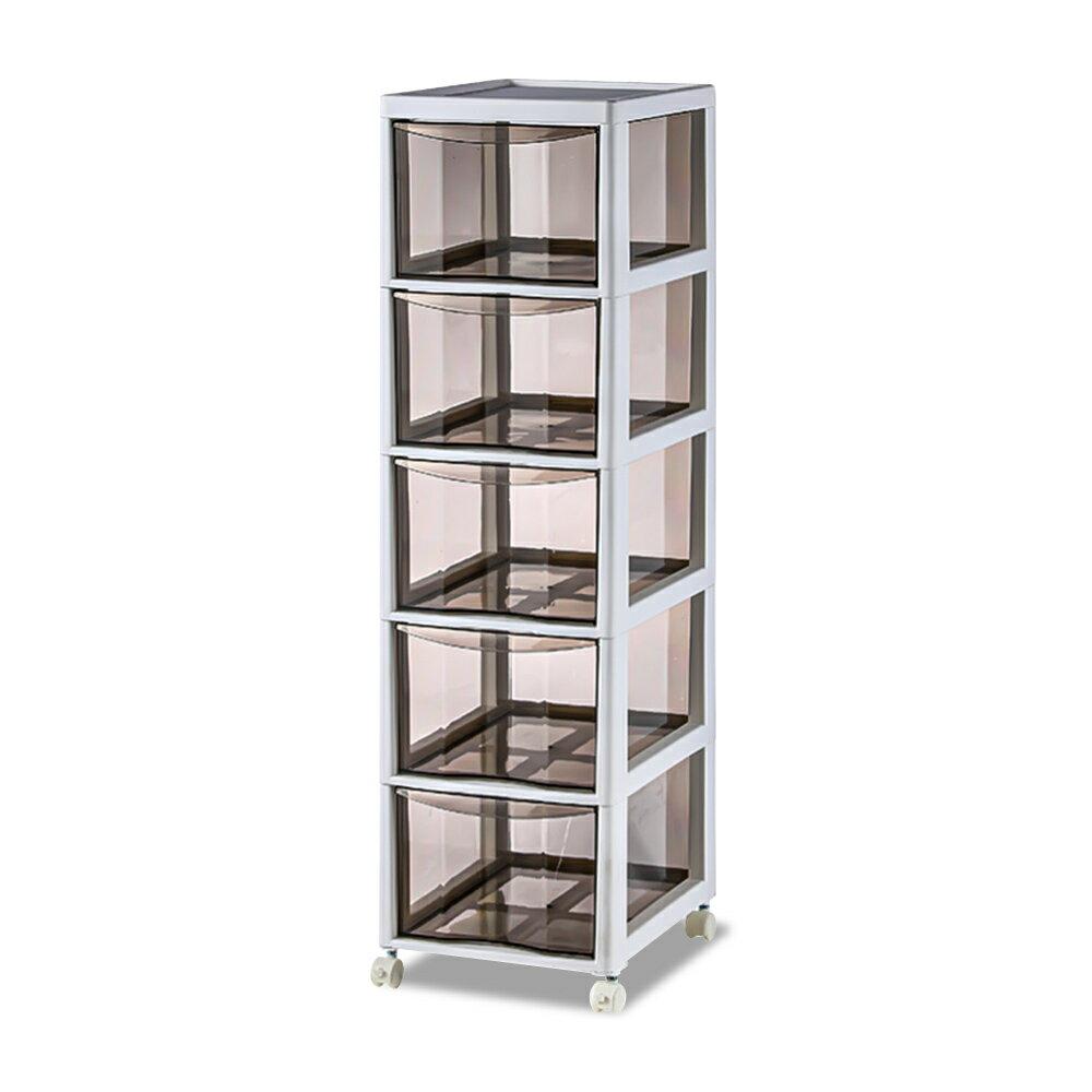 Mr.box【006003-01】高質感透明5層衣物抽屜收納櫃(附煞車輪