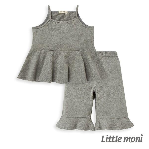 Littlemoni背心套裝(兩件組)-麻花灰