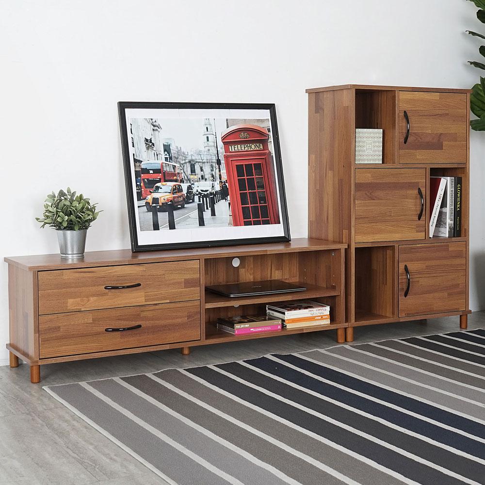 日和客廳二件組-柚木(電視櫃+三門櫃) 視廳組合櫃 電視收納櫃【YoStyle】 - 限時優惠好康折扣