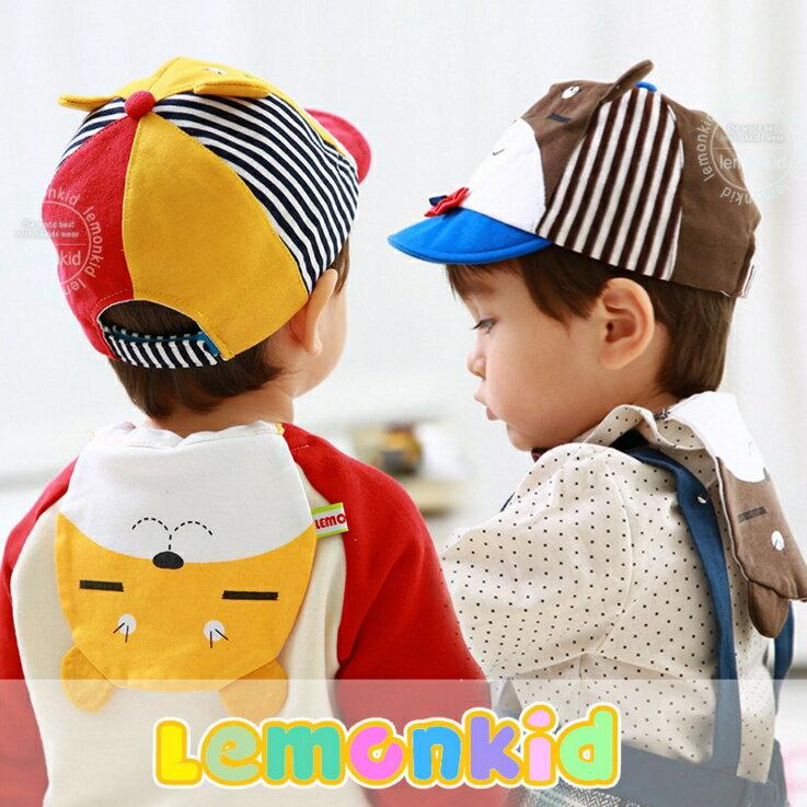 Lemonkid◆可愛眯眯熊造型雙層吸汗純綿紗布兒童吸汗巾