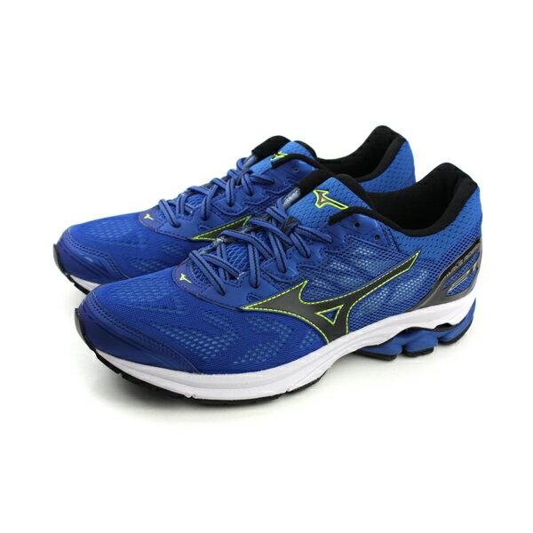 HUMAN PEACE:美津濃MizunoWAVERIDER21運動鞋慢跑鞋網布透氣避震藍色男鞋J1GC180310no038