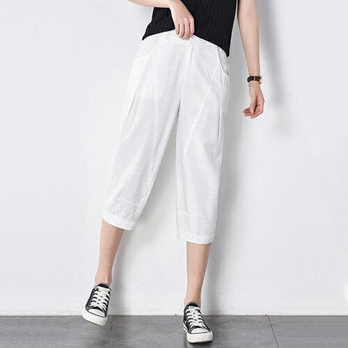 棉麻七分褲(白色2XL)【OREAD】