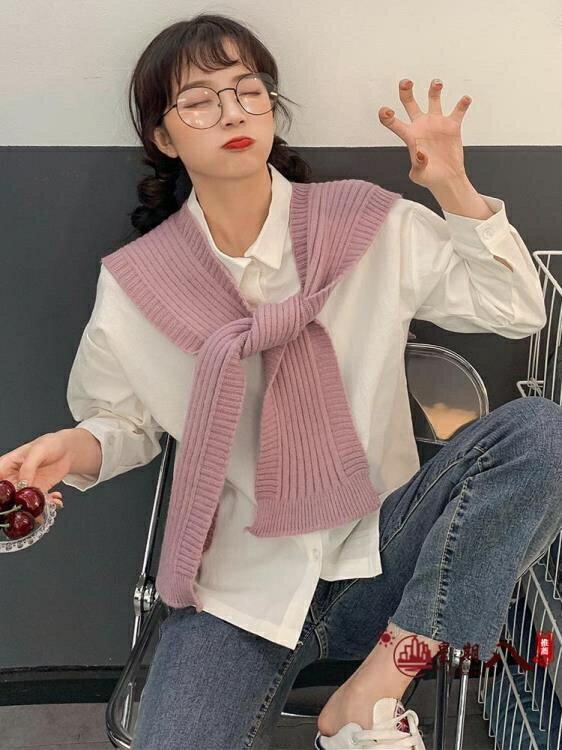 圍巾 秋季新款韓版洋氣減齡糖果色綁帶裝飾針織披肩女學生外搭毛線圍巾 VK4180