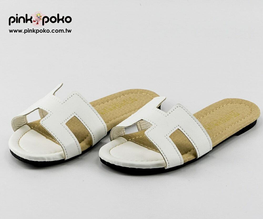 拖鞋☆PINKPOKO粉紅波可☆時尚造型雙色低跟拖鞋~2色#1304